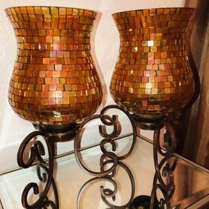2 Amber mosaic candle holders like new condition